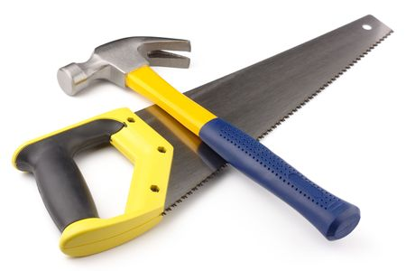 power saw: Crossed hammer and hand-saw, isolated over white