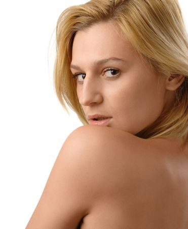 Portrait of a beautiful blonde, isolated over white Stock Photo - 6396982