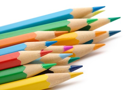 coloured pencil: Sharp color crayons, shallow depth of field, isolated over white Stock Photo