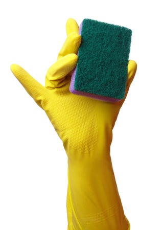 Hand in glove holding washing sponge, isolated over white photo