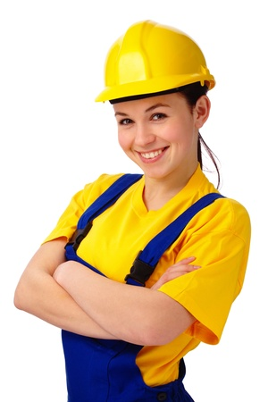 hardhat: Young happy attractive woman in construction uniform, isolated over white