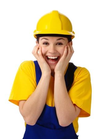 astonishment: Chica joven construcci�n atractivo con su cara de asombro, aislado en blanco