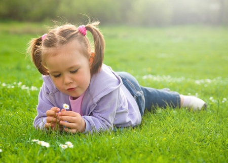 Little girl is laying on green meadow and playing with daisy photo