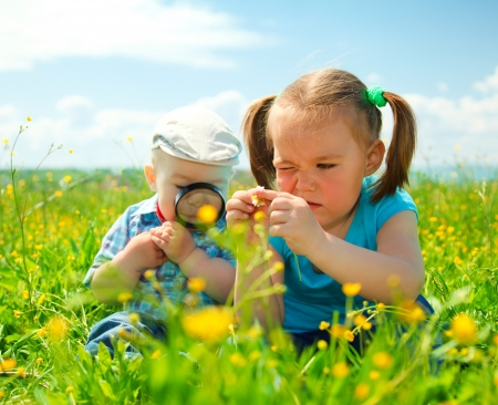 magnifying glass man: Children are playing on green meadow examining field flowers using magnifying glass Stock Photo