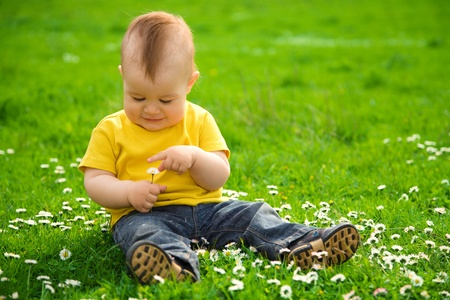 Little boy is sitting on green meadow and plays with daisy photo