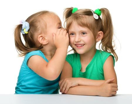 amigas conversando: Dos niñas están en el chat, aislado más de blanco
