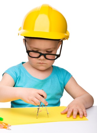 vertical dividers: Cute little girl play with divider wearing hard hat, isolated over white