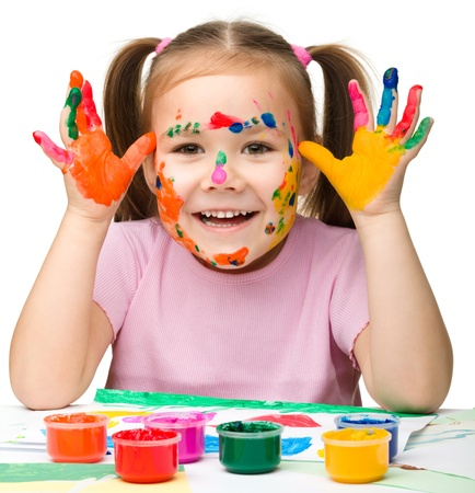 painted hands: Portrait of a cute cheerful girl with painted hands, isolated over white