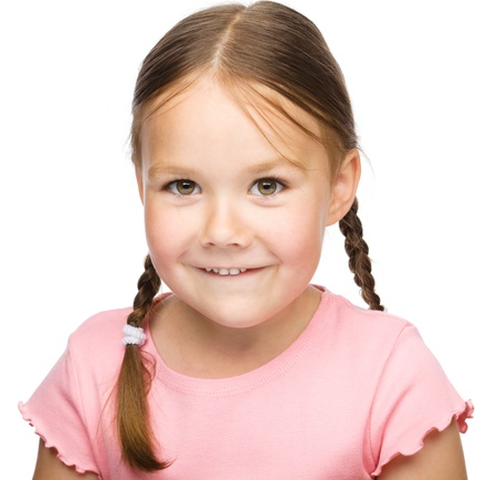 Portrait of a cute little girl, isolated over white Stock Photo - 14589874