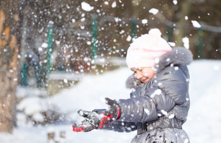 Little girl is throwing snow playing outdoors photo