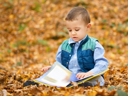 one story: Little boy is reading book while sitting on yellow leaves outdoors Stock Photo