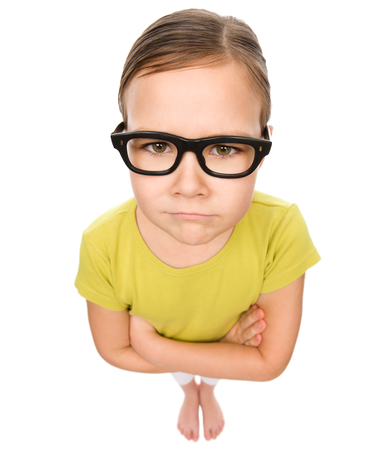 eyesight: Little girl wearing glasses, bad eyesight concept, fisheye portrait, isolated over white