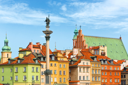 Sigismunds Column and roof tops, Warsaw city Poland