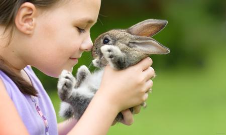 animados: La muchacha está sosteniendo un pequeño conejo lindo, lanzamiento al aire libre Foto de archivo