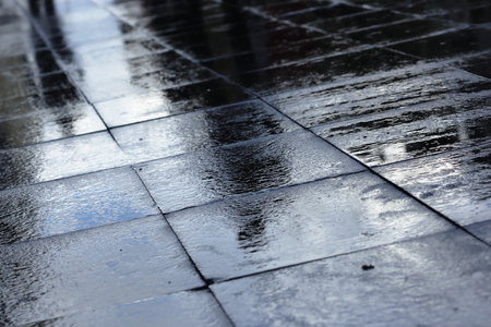 road surface: Silhouettes on wet road tiles shallow depth of field, outdoor shoot