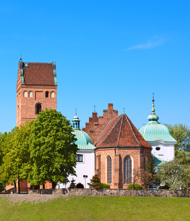 visitation: Church of Visitation the Virgin Mary in Warsaw city, Poland - view at old town from Visla river Stock Photo