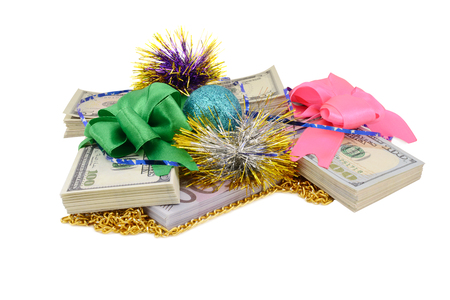 perks: gift money, Dollars tied bow, on a white background Stock Photo