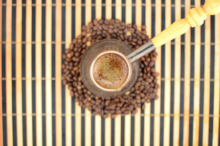 cheerfulness: hot coffee on a background of coffee beans,blurred background