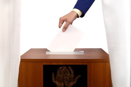 fraudulent: fraudulent voting at the polling station, fake ballot box for bulletins