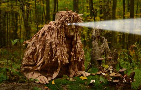 espantapajaros: hombre en traje de duende madera, la luz brilla en los ojos