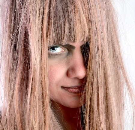 Girl with dirty and not well-groomed hair. Disease of hair Stok Fotoğraf