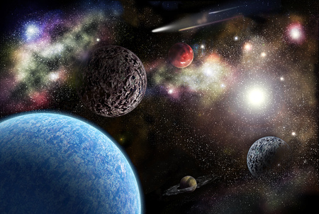 Planets in space among the stars and the bright sun Stock Photo