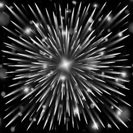 Cosmic explosion of particles. Festive Fireworks Background. Illustration of the effect of bright rays of flash.