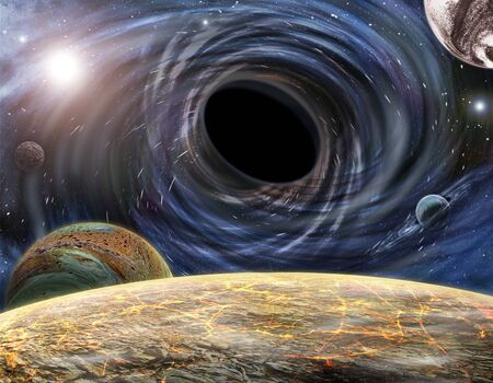 Large black hole in space destroys planets and stars, pulling them into a funnel. View from the surface of the planet. 3D rendering 写真素材