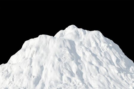 White snow heaped in a pile on a black background.