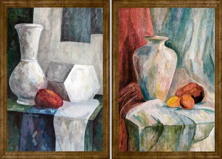 Two paintings by the artist in a wooden frame. Still life painted with art paints. Jug and fruits on a woven tablecloth