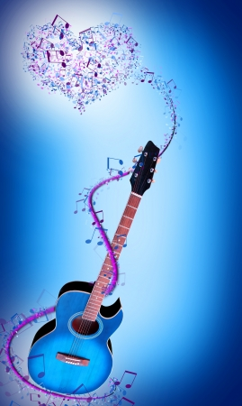 blue guitar with notes and music photo