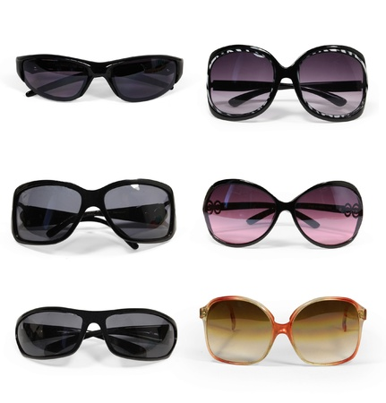 collection of sunglasses isolated photo