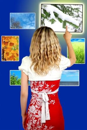 Girl operator with nature photography season photo