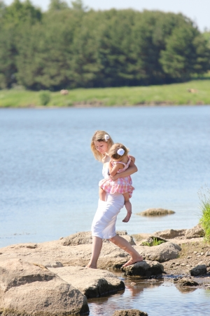 young mother and her little daughter at the lake Stock Photo - 17799155