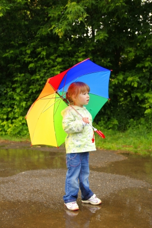 little girl with an umbrella in the rain photo