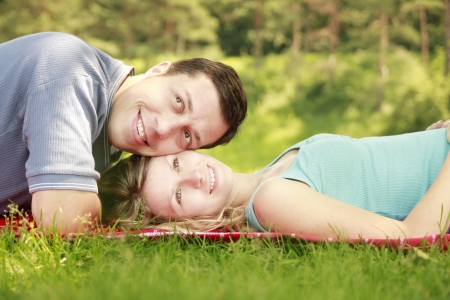 couple in love outdoors photo
