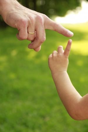 親と子の自然の手 写真素材