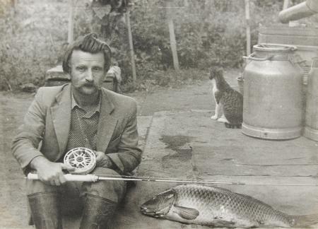 釣り竿と老人ビンテージ写真