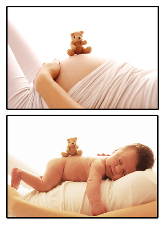 one cute newborn little baby and pregnant woman belly  photo