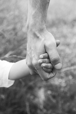 a parent holds the hand of a small child Stock Photo