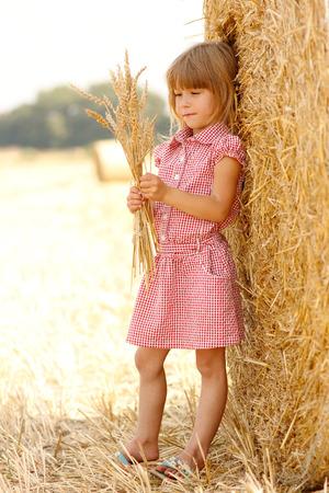 畑に小麦の小さな女の子