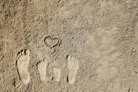 a Family feet on the sand on the beach