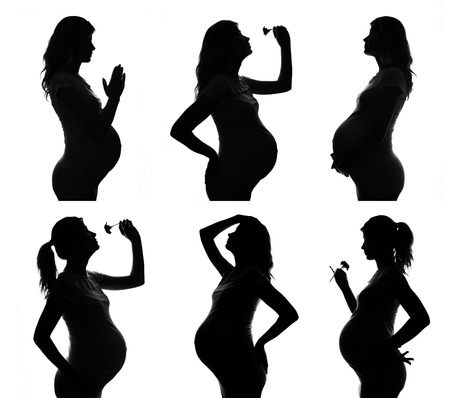 convulsions: collection silhouette of  Pregnant woman on a white background Stock Photo
