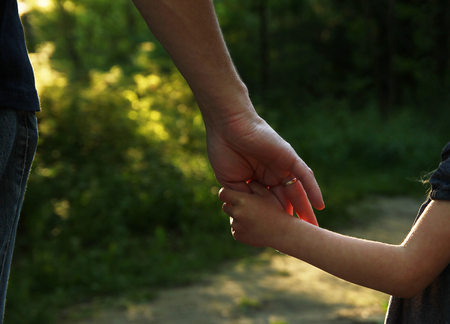 adult hand: the parent holds the hand of a small child Stock Photo