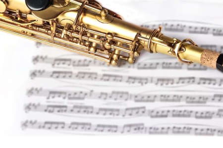 soprano saxophone on white background Stock Photo