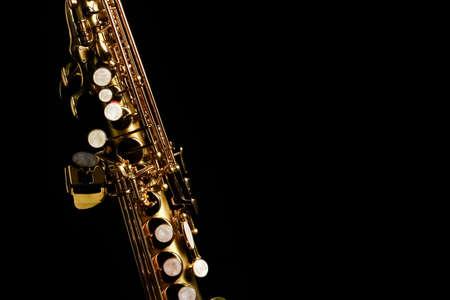 soprano saxophone on black background
