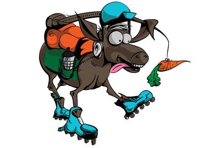 Ilustración de burro persiguiendo carro, sin degradados, sin mezclas, sin transparencia, la ilustración se expande y es fácil de editar con muestras globales