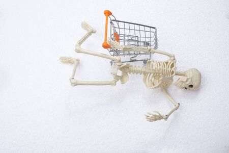 Artificial human body skeleton with a model shopping cart on white 写真素材