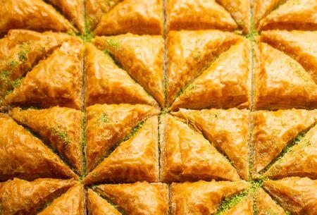 Traditional Turkish dessert Baklava in tray from Istanbul Turkey