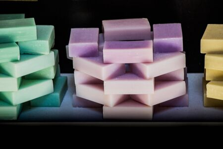 multi-colored Eco-friendly exfoliating bars of  soap for hair and body